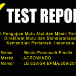 TEST REPORT MESIN PENCACAH PLASTIK