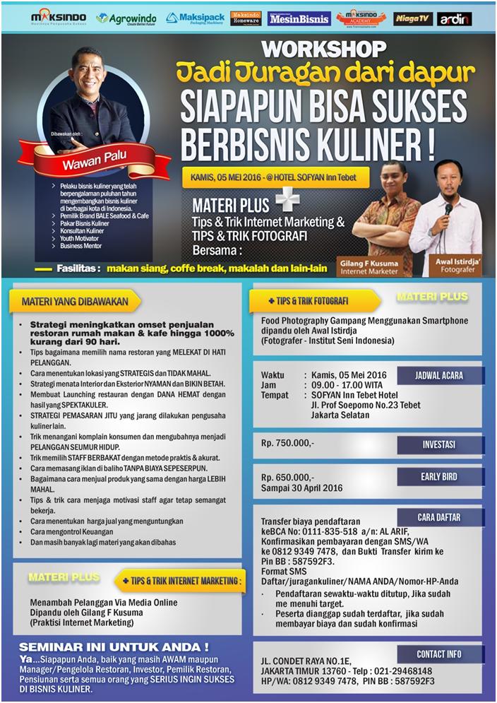 Workshop Jadi Juragan Dapur (Bisnis Kuliner) 5 Mei 2016 Tokomesin Malang