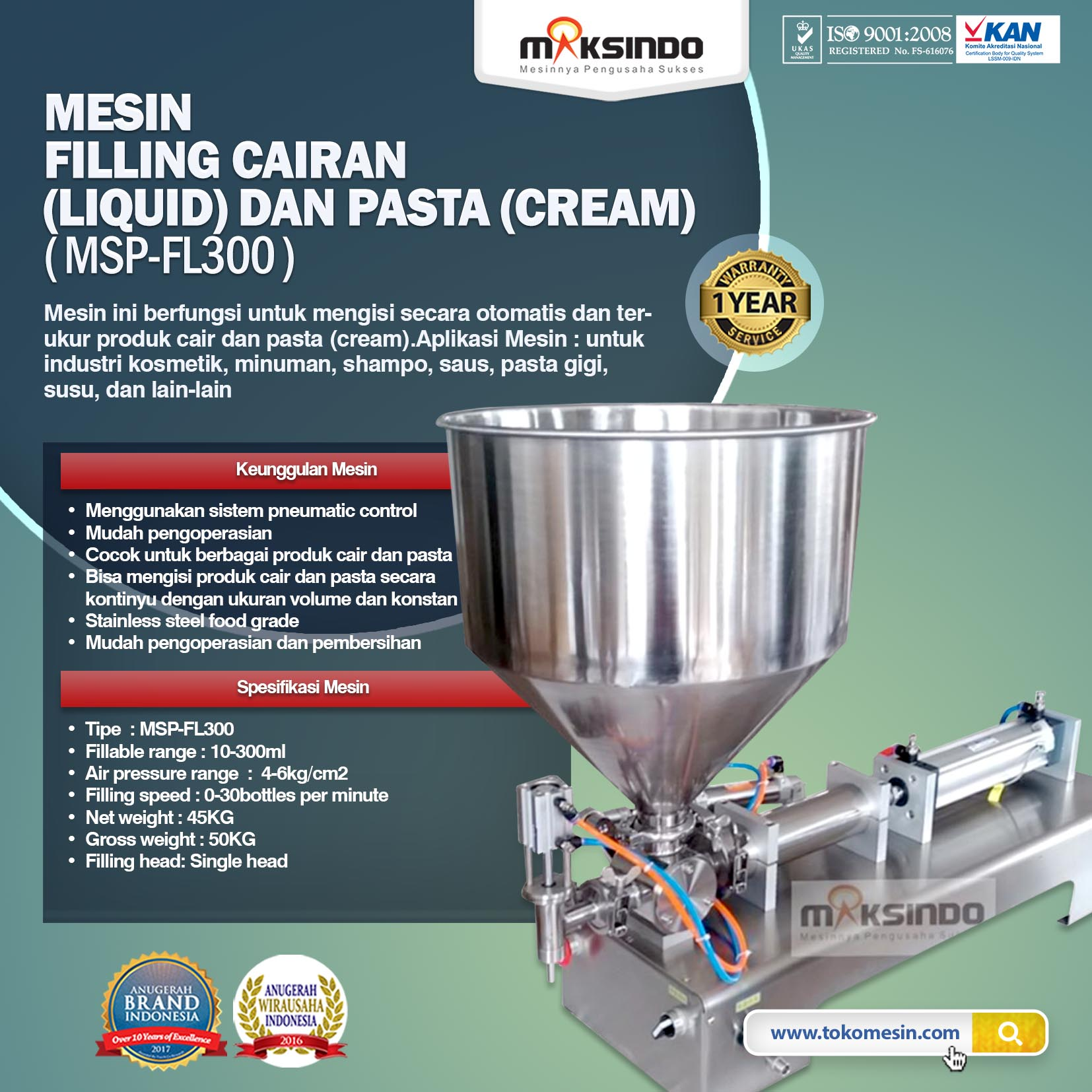 Mesin Filling Cairan Liquid Dan Pasta Cream MSP FL300