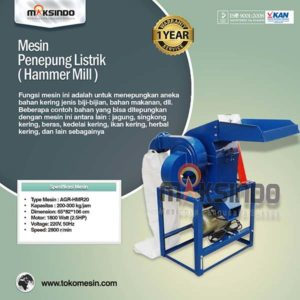 Jual Mesin Penepung Hammer Mill Listrik (AGR-HMR20) di Malang