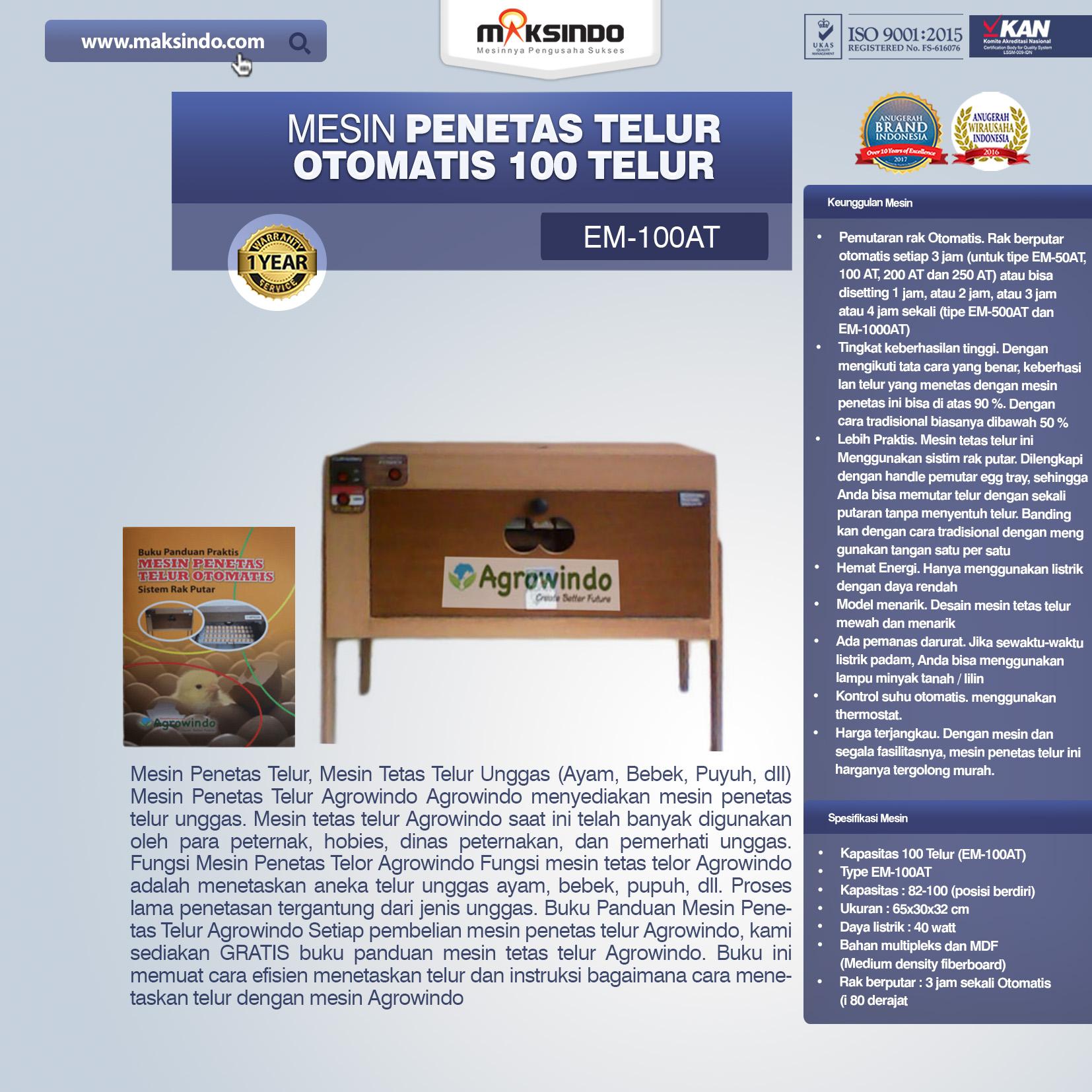 Jual Mesin Penetas Telur Otomatis 100 Telur (EM-100AT) di Malang
