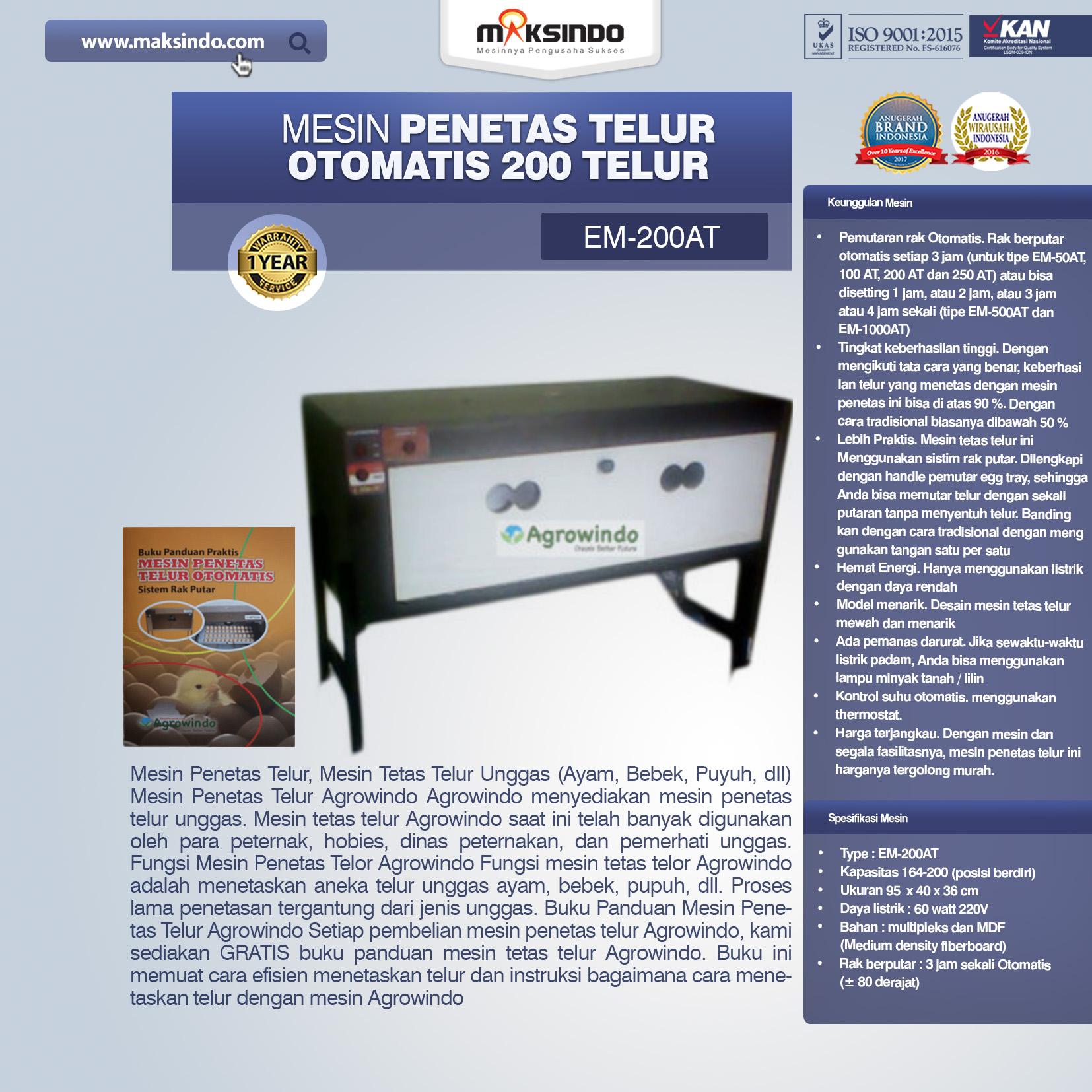 Jual Mesin Penetas Telur Otomatis Kapasitas 200 Telur (EM-200AT) di Malang
