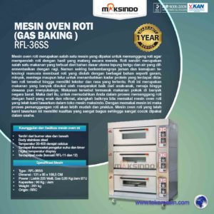 Jual Mesin Oven Roti Gas 6 Loyang (MKS-RS36) di Malang
