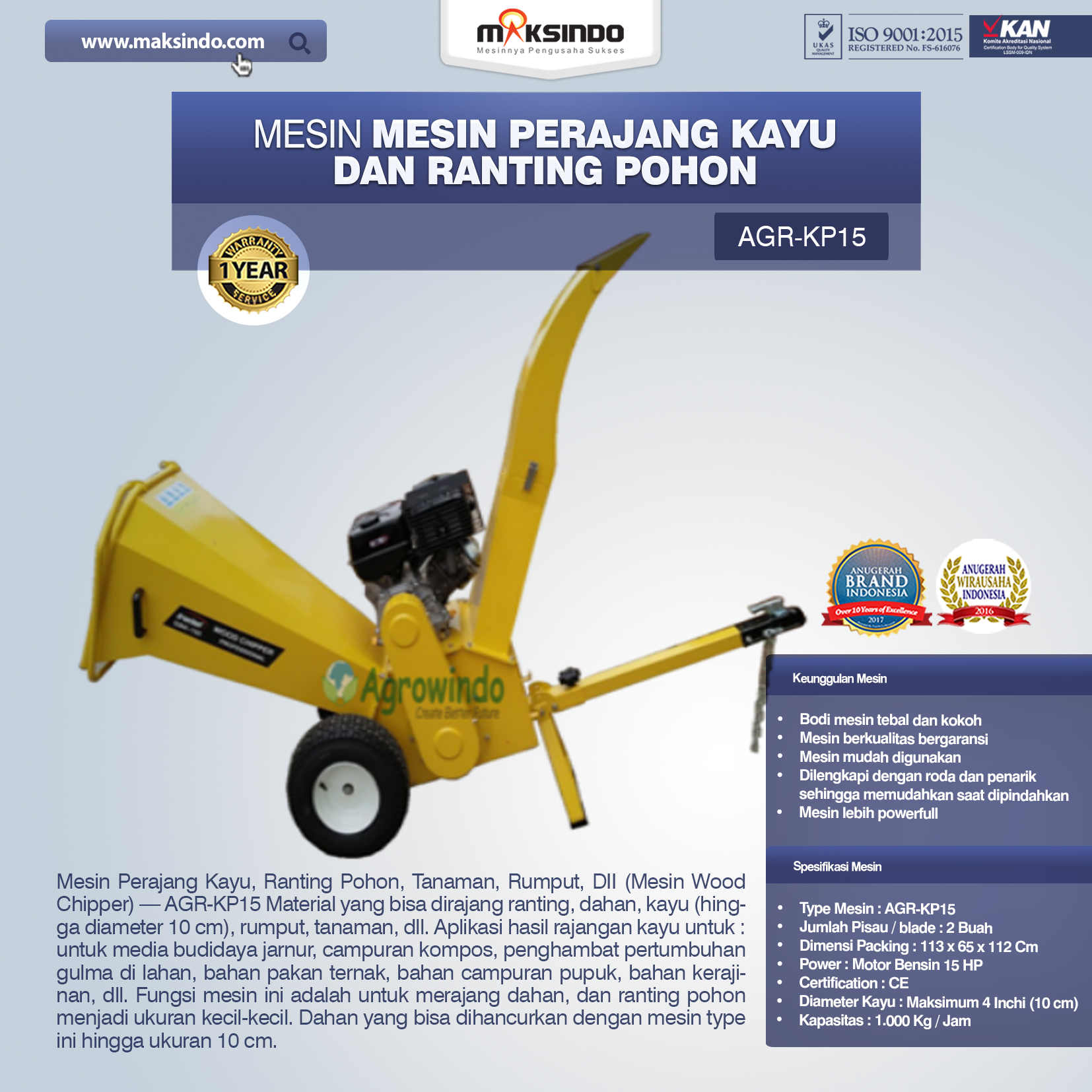 Jual Mesin Perajang Kayu dan Ranting Pohon – KP15 di Malang