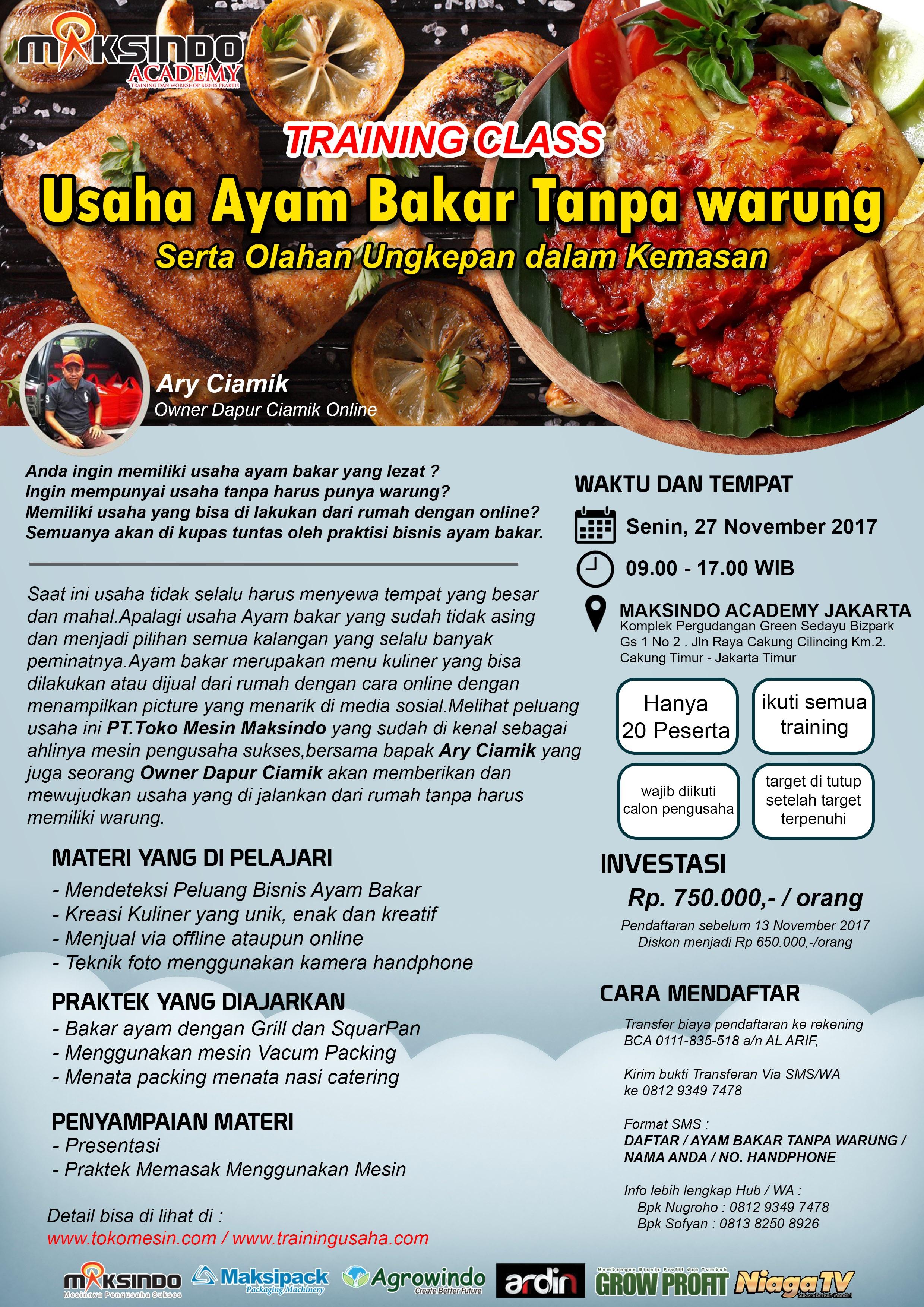 Training Usaha Ayam Bakar Tanpa Bawang, 27 November 2017