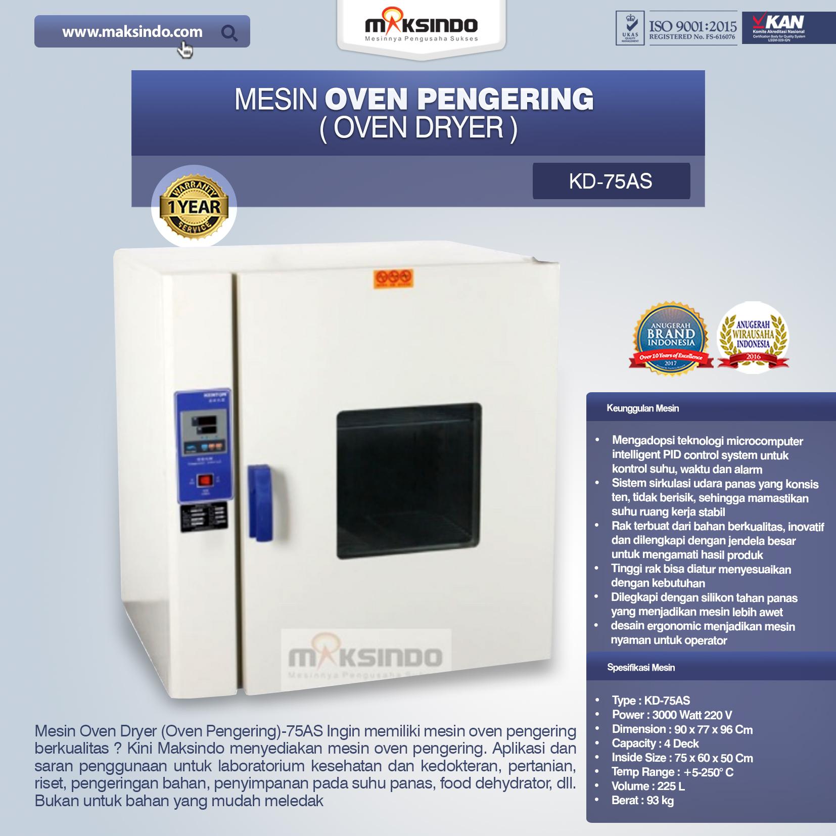 Jual Mesin Oven Pengering (Oven Dryer)-75AS di Malang