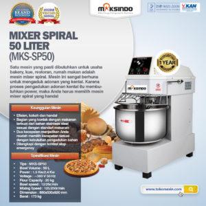 Jual Mixer Spiral 50 Liter (MKS-SP50) di Malang