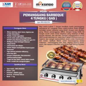 Jual Pemanggang BBQ Stainless (gas) 4 Tungku di Malang