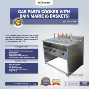 Gas Pasta Cooker With Bain Marie (6 Baskets) MKS-PCBM6