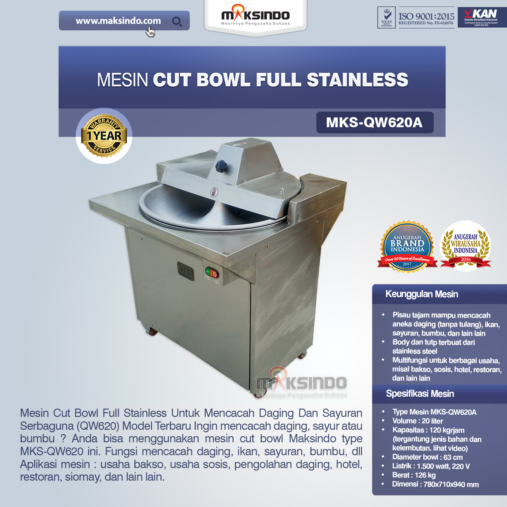 Jual Mesin Cut Bowl Full Stainless (QW620A) di Malang