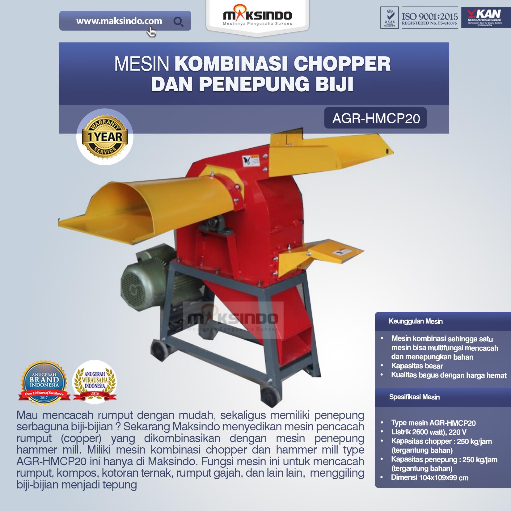 Jual Mesin Kombinasi Chopper dan Penepung Biji (HMCP20) di Malang