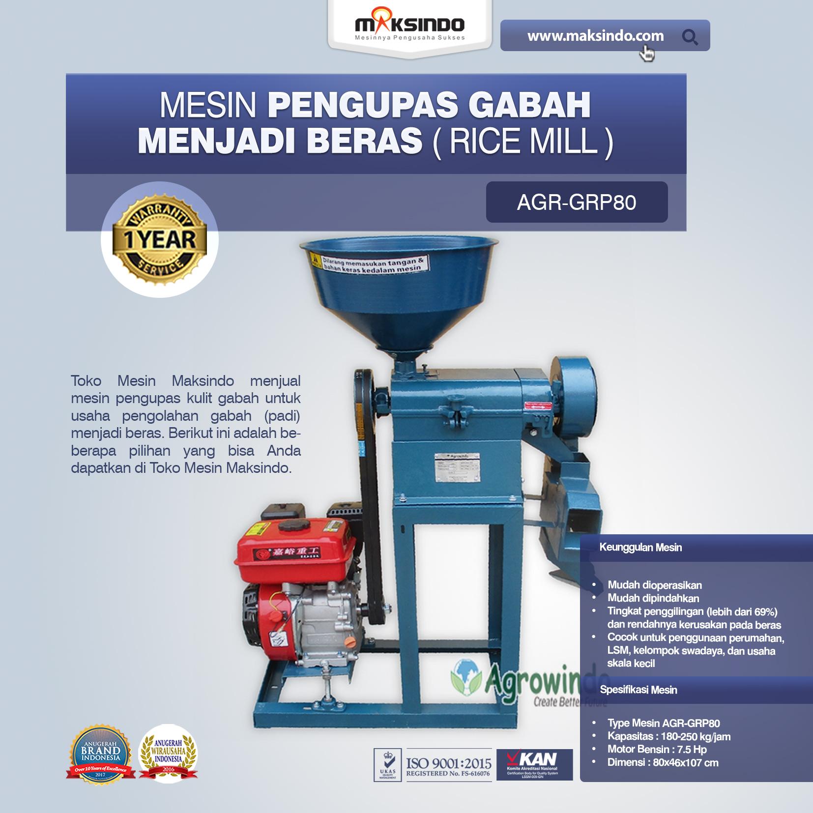 Jual Mesin Pengupas Gabah Menjadi Beras (Rice Mill) AGR-GRP80 di Malang