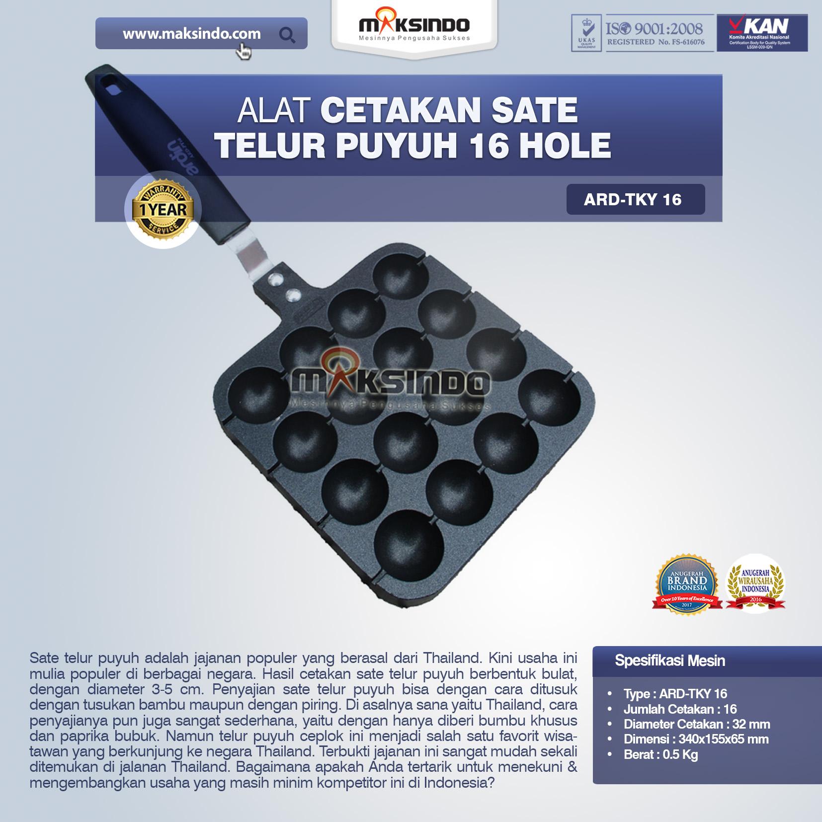 Jual Alat Cetakan Sate Telur Puyuh 16 Hole Ardin TKY16 di Malang