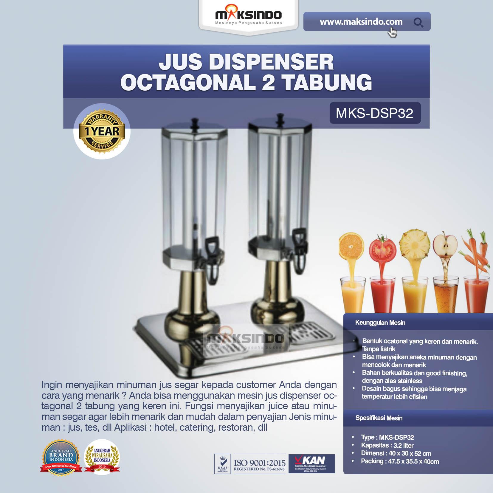 Jual Jus Dispenser Octagonal 2 Tabung (DSP32) di Malang
