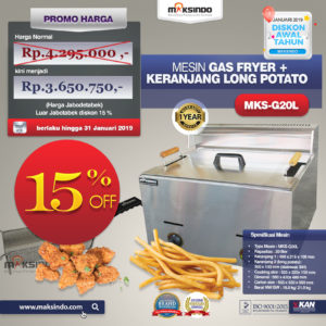 Jual Mesin Gas Fryer MKS-G20L + Keranjang Long Potato Di Malang