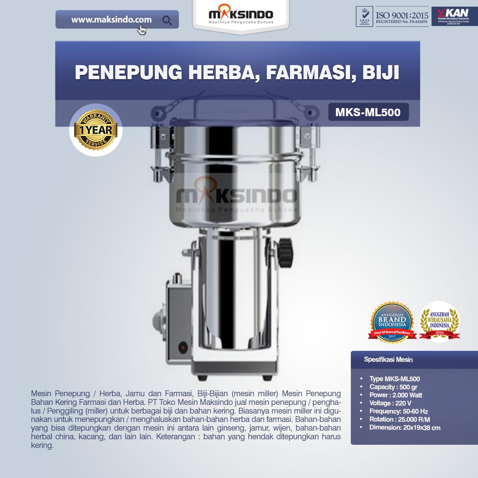 Jual Penepung Herba, Farmasi, Biji (ML500) di Malang