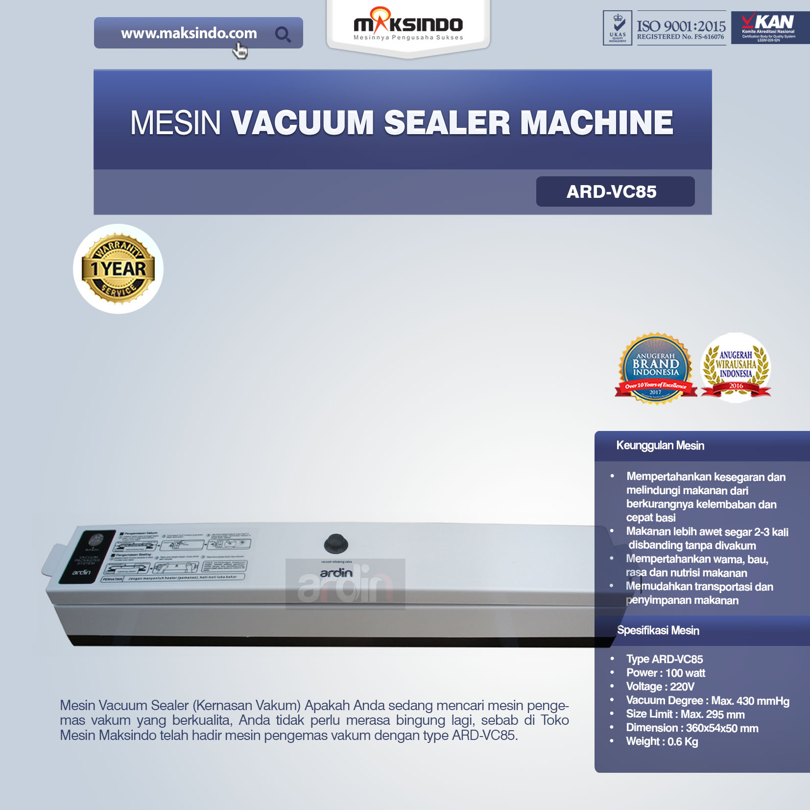 Jual Mesin Vacuum Sealer Machine ARD-VC85 di Malang