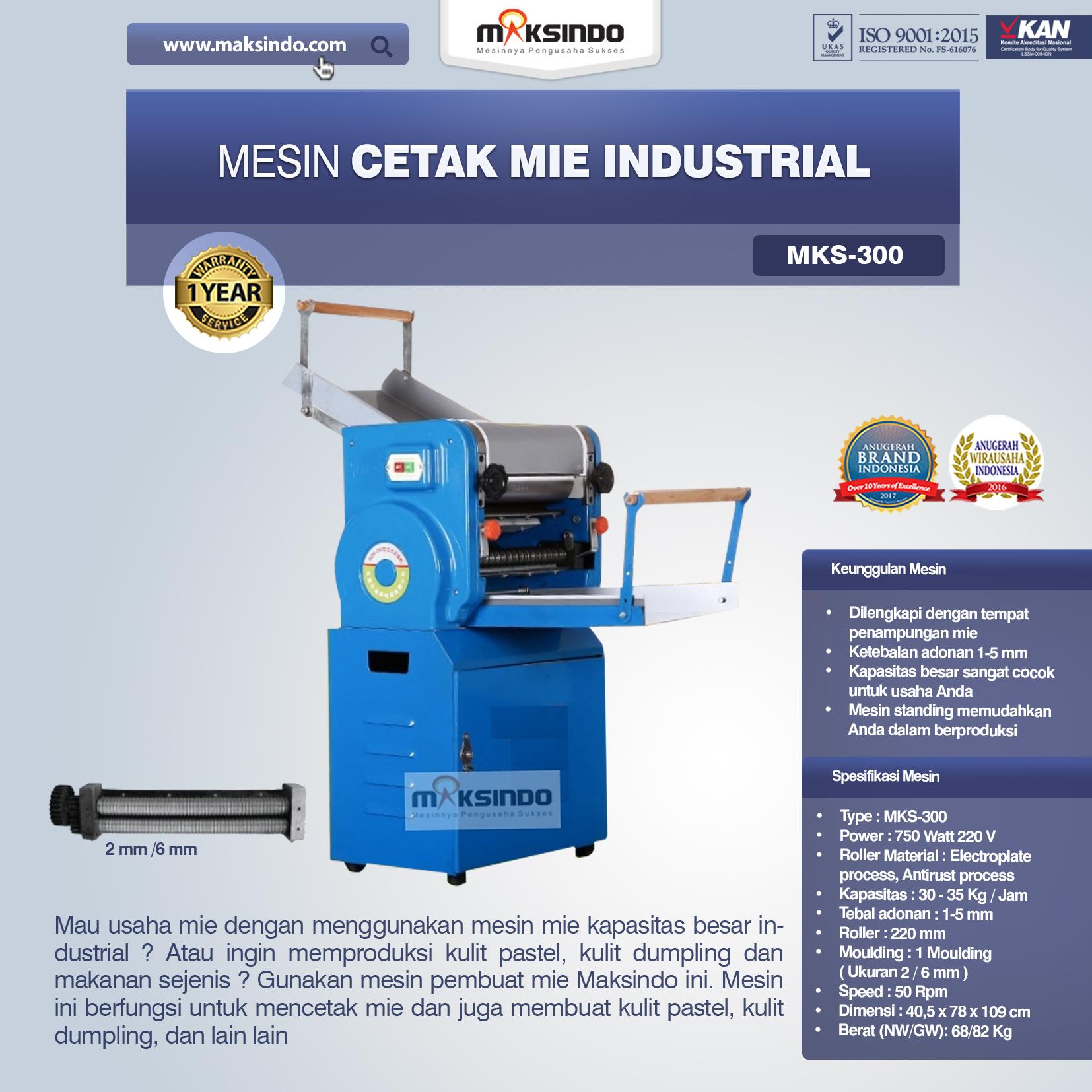 Jual Mesin Cetak Mie Industrial (MKS-300) di Malang