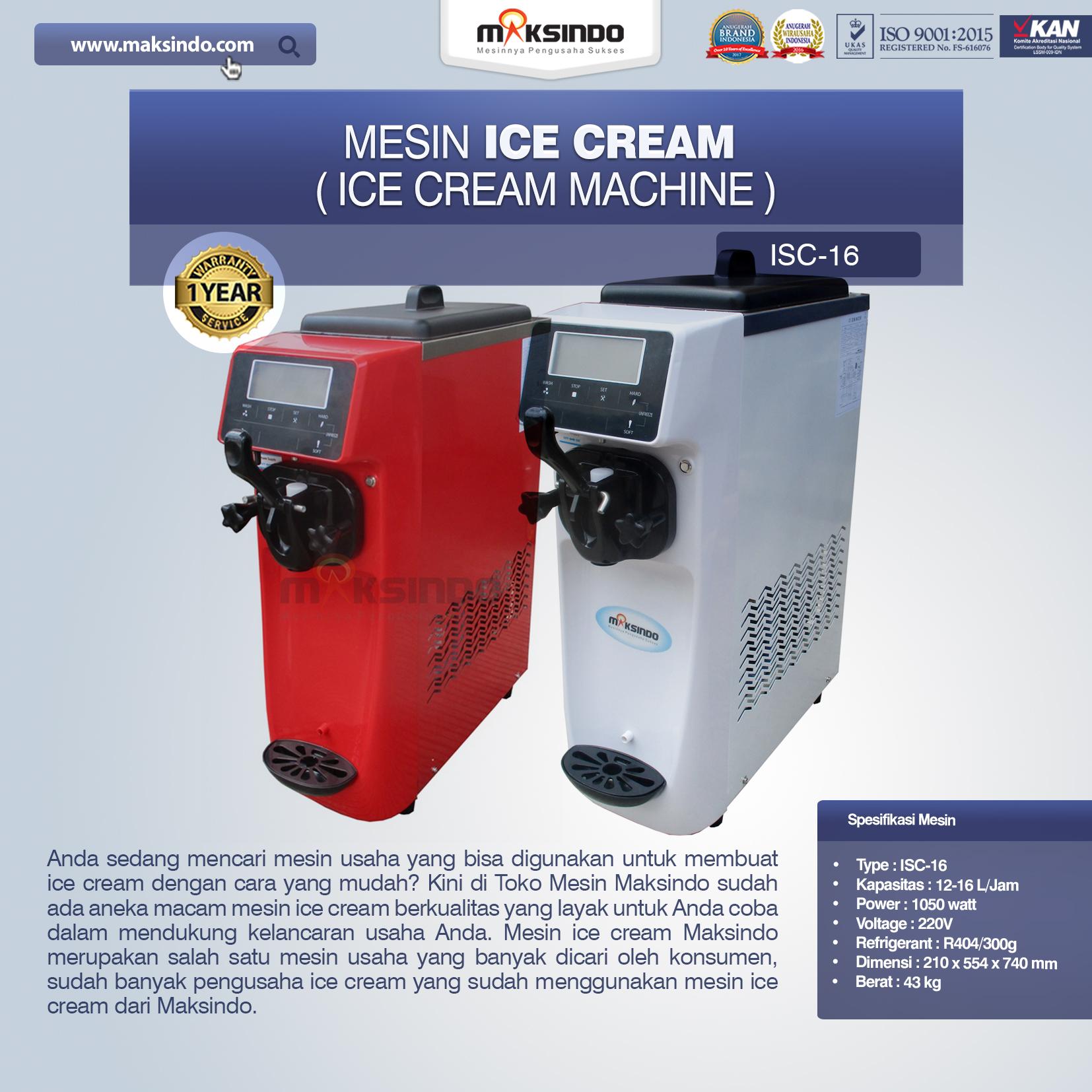 Jual Mesin Es Krim (Ice Cream Machine) ISC-16 di Malang