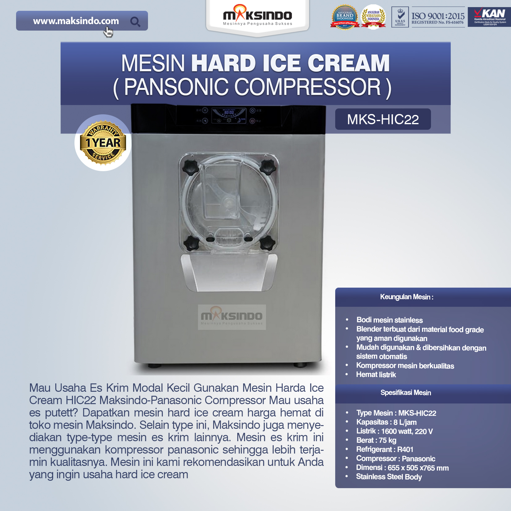 Jual Mesin Hard Ice Cream (HIC22) di Malang