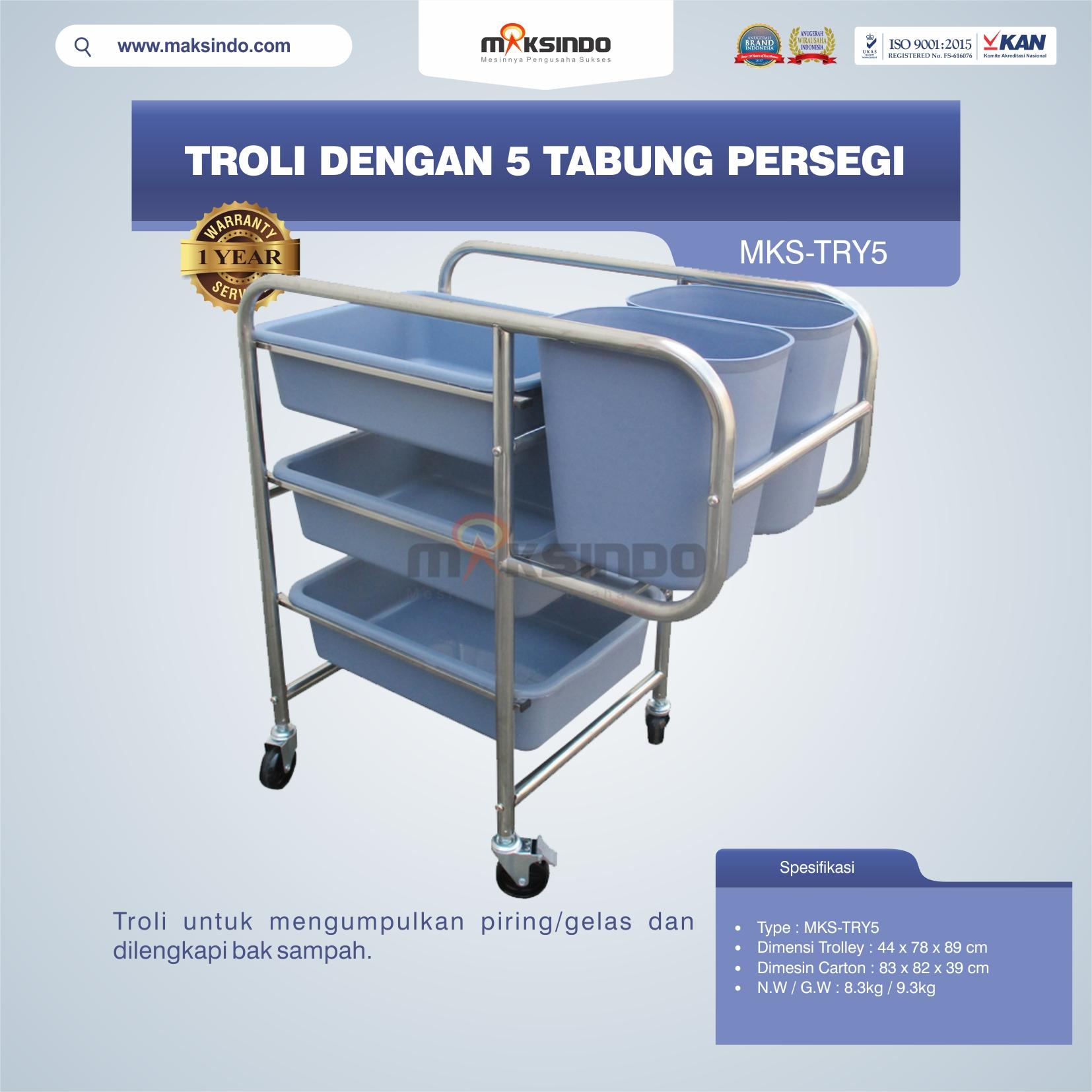 Jual Troli Dengan 5 Tabung Persegi MKS-TRY5 di Malang