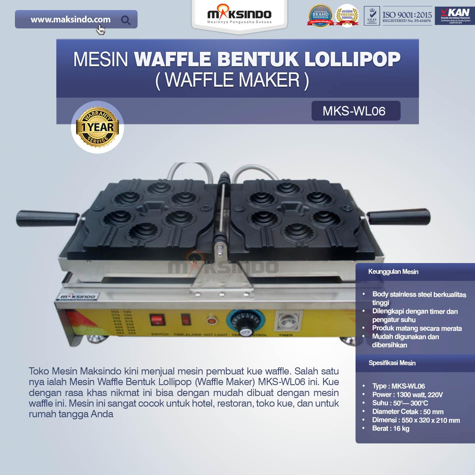 Jual Mesin Waffle Bentuk Lollipop (Waffle Maker) MKS-WL06 di Malang