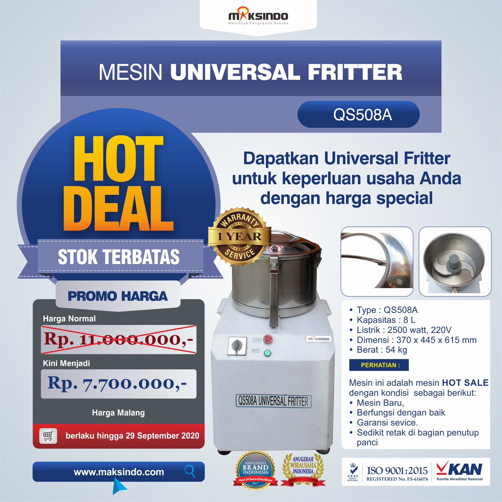 Jual Mesin Universal Fritter QS508A di Malang
