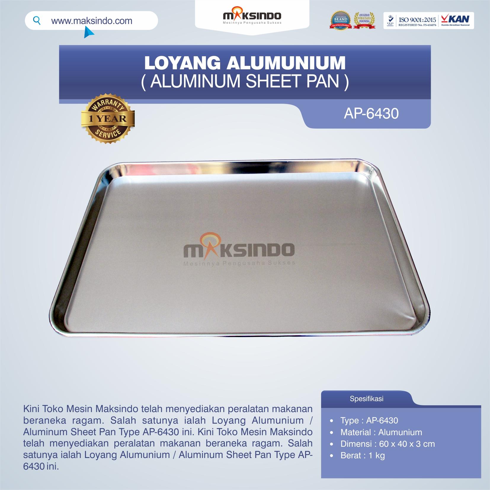 Jual Loyang Alumunium / Aluminum Sheet Pan Type AP-6430 di Malang