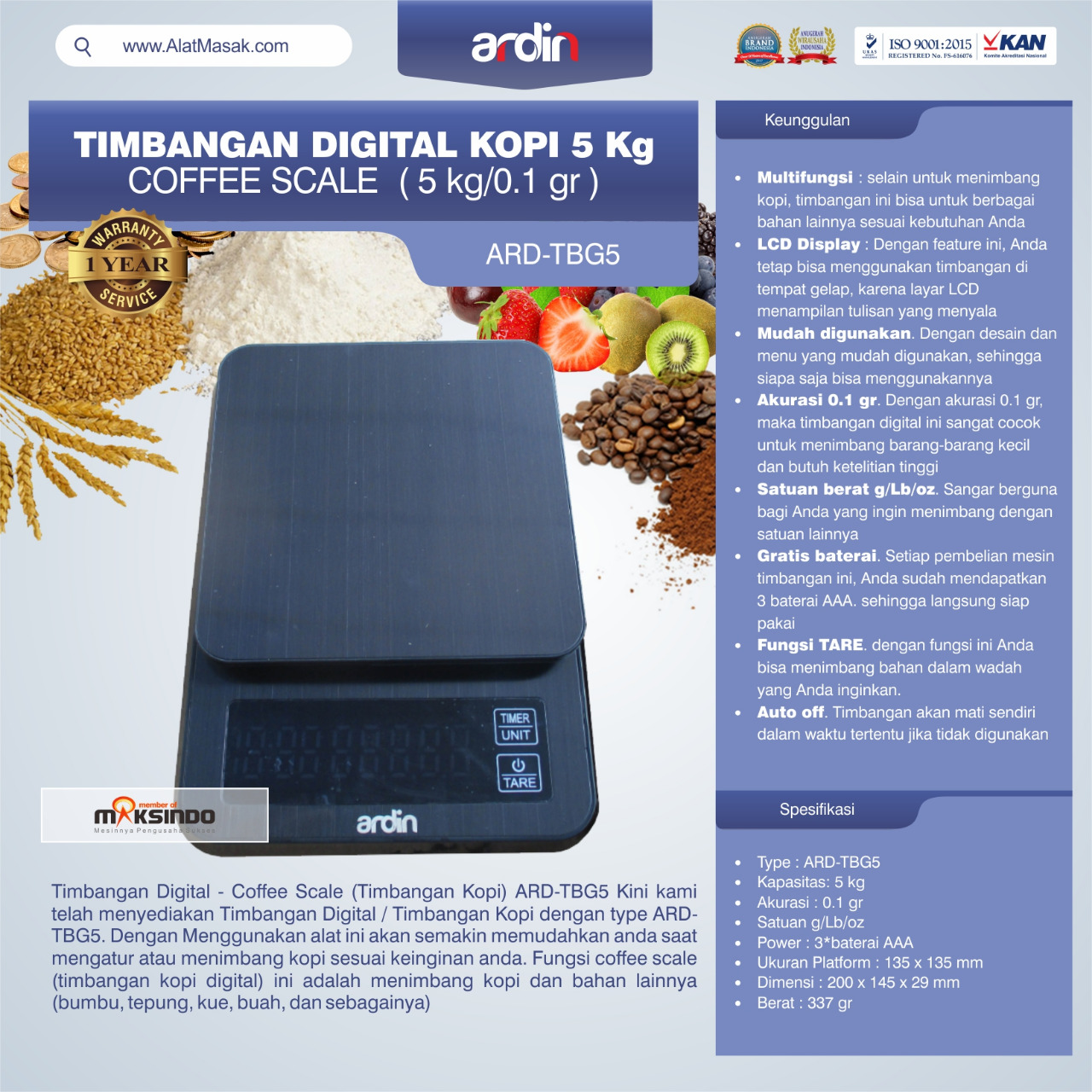 Jual Timbangan Digital Kopi 5 kg ARD-TBG5 (coffee scale) di Malang