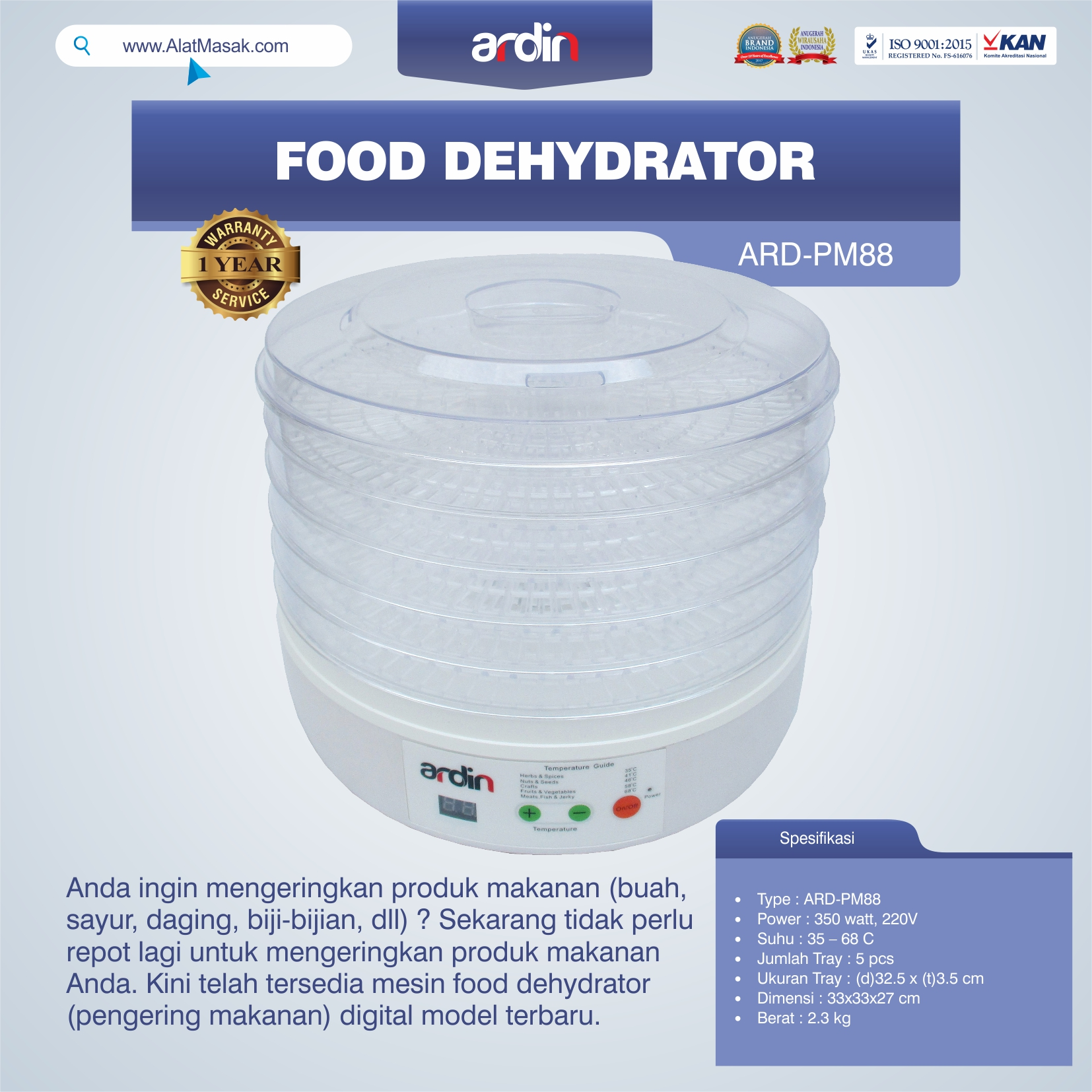 Jual Food Dehydrator ARD-PM88 di Malang