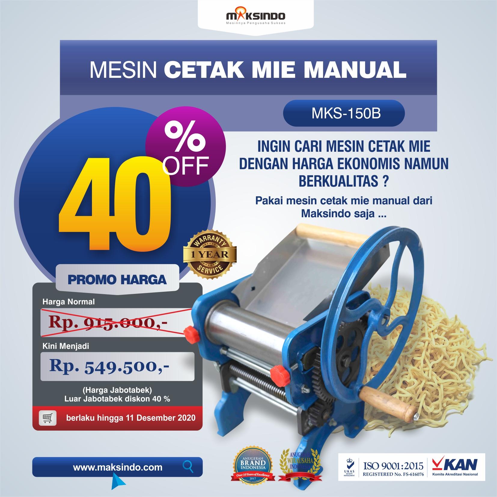 Jual Cetak Mie Manual Untuk Usaha (MKS-150B) di Malang