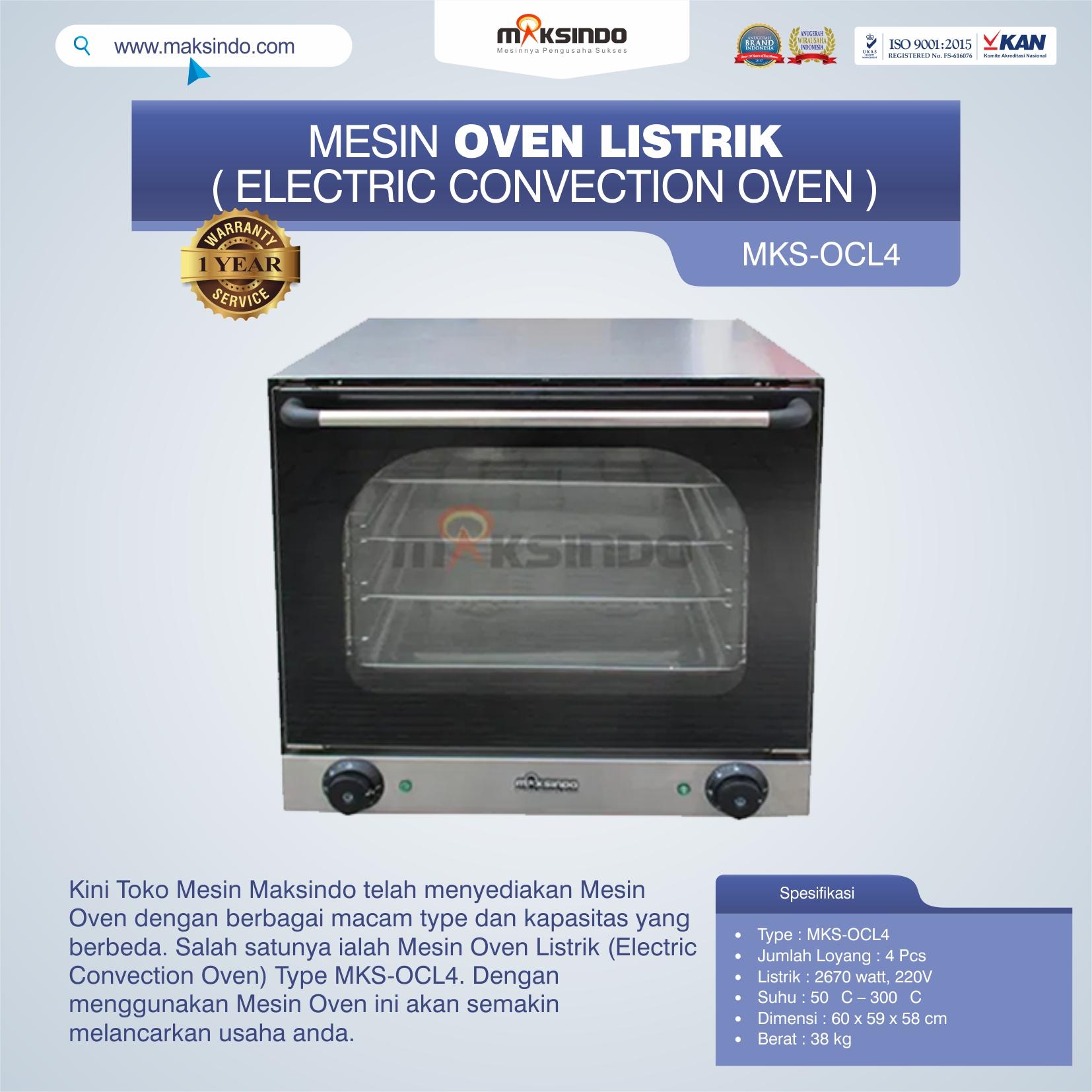 Jual Mesin Oven Listrik (Electric Convection Oven) MKS-OCL4 di Malang
