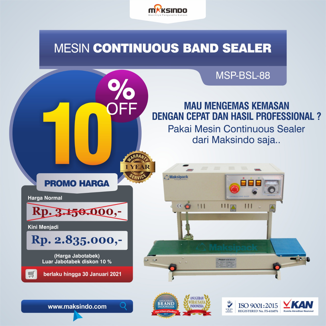 Jual Mesin Continuous Band Sealer MSP-BSL-88 di Malang
