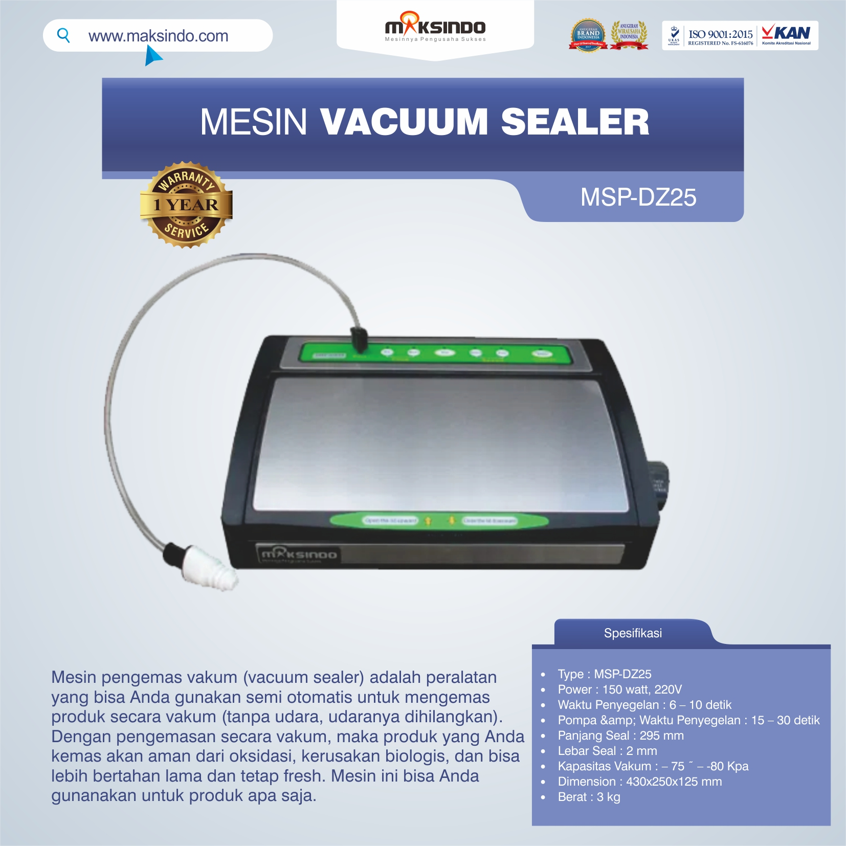Jual Vacuum Sealer MSP-DZ25 di Malang