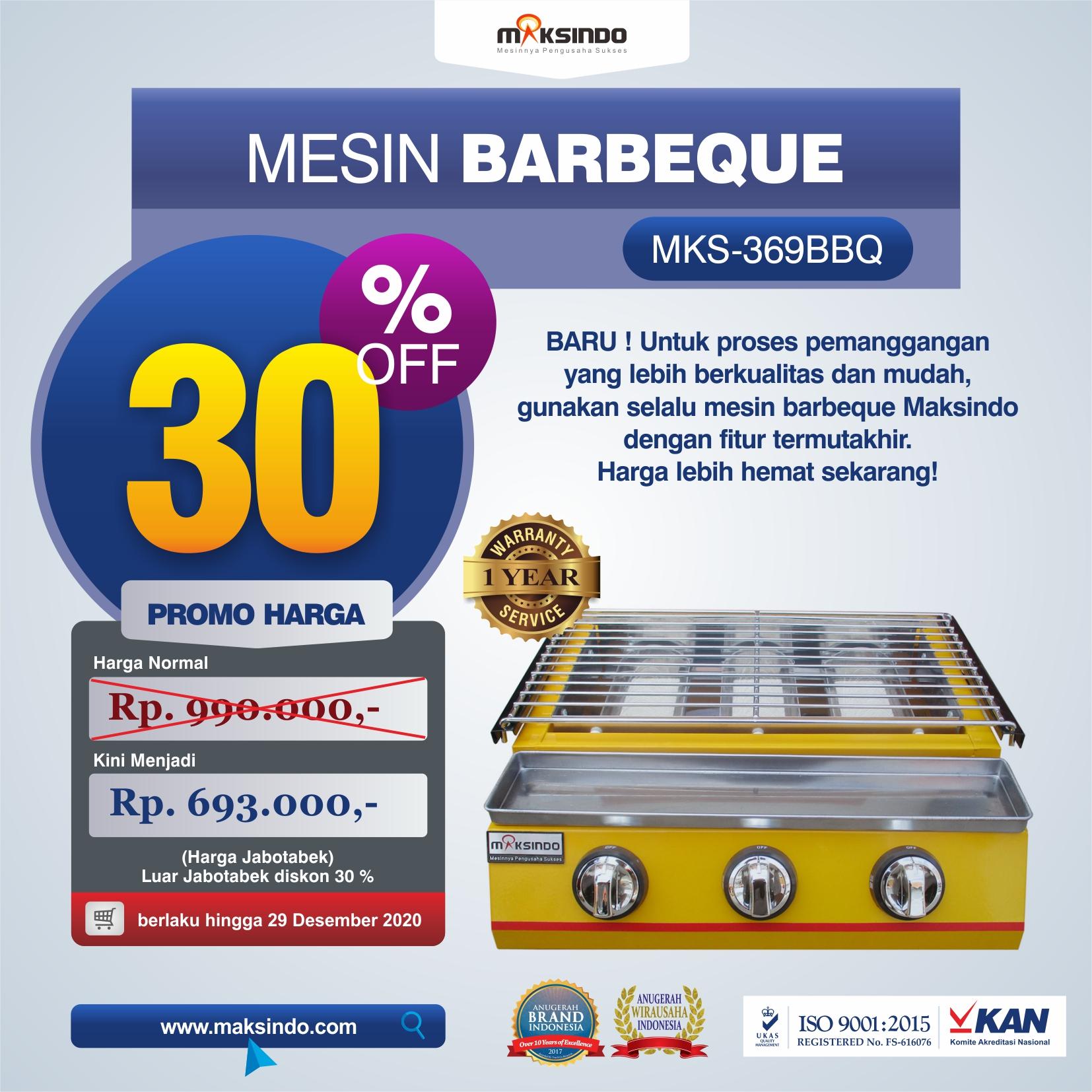 Jual Mesin Pemanggang Sate – BBQ 3 Tungku (Gas) MKS-369BBQ di Malang