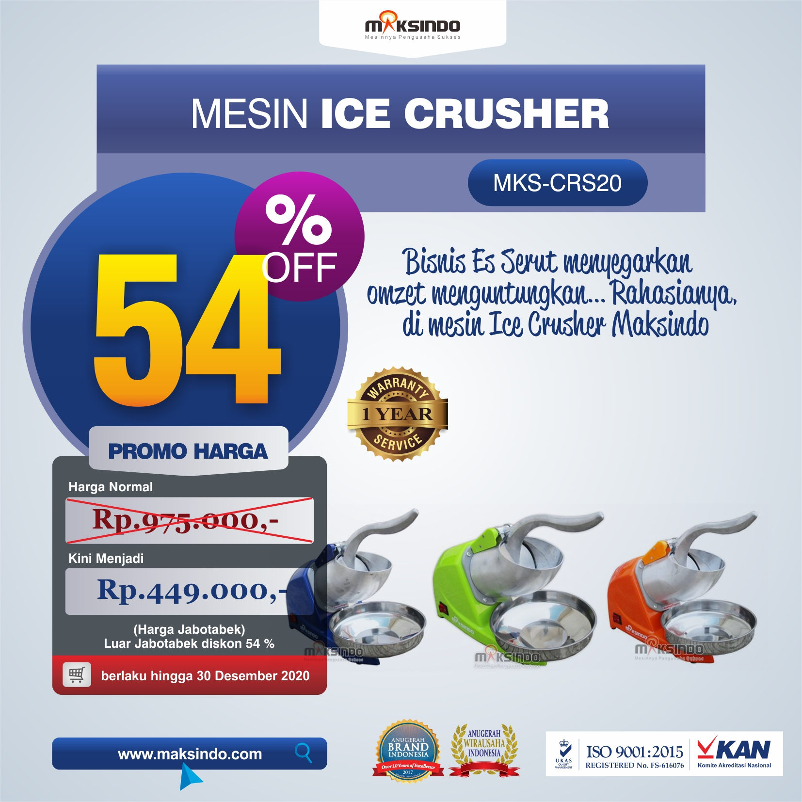 Jual Mesin Ice Crusher MKS-CRS20 di Malang