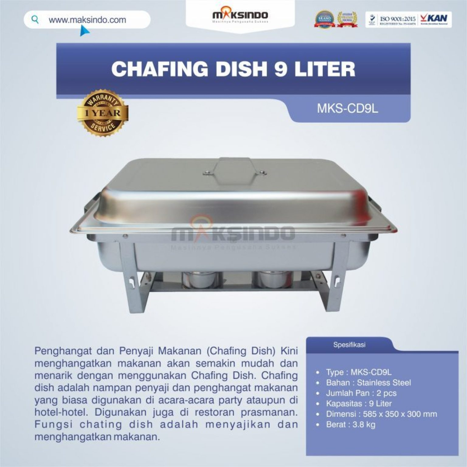 Jual Chafing Dish 9 Liter MKS-CD9L di Malang