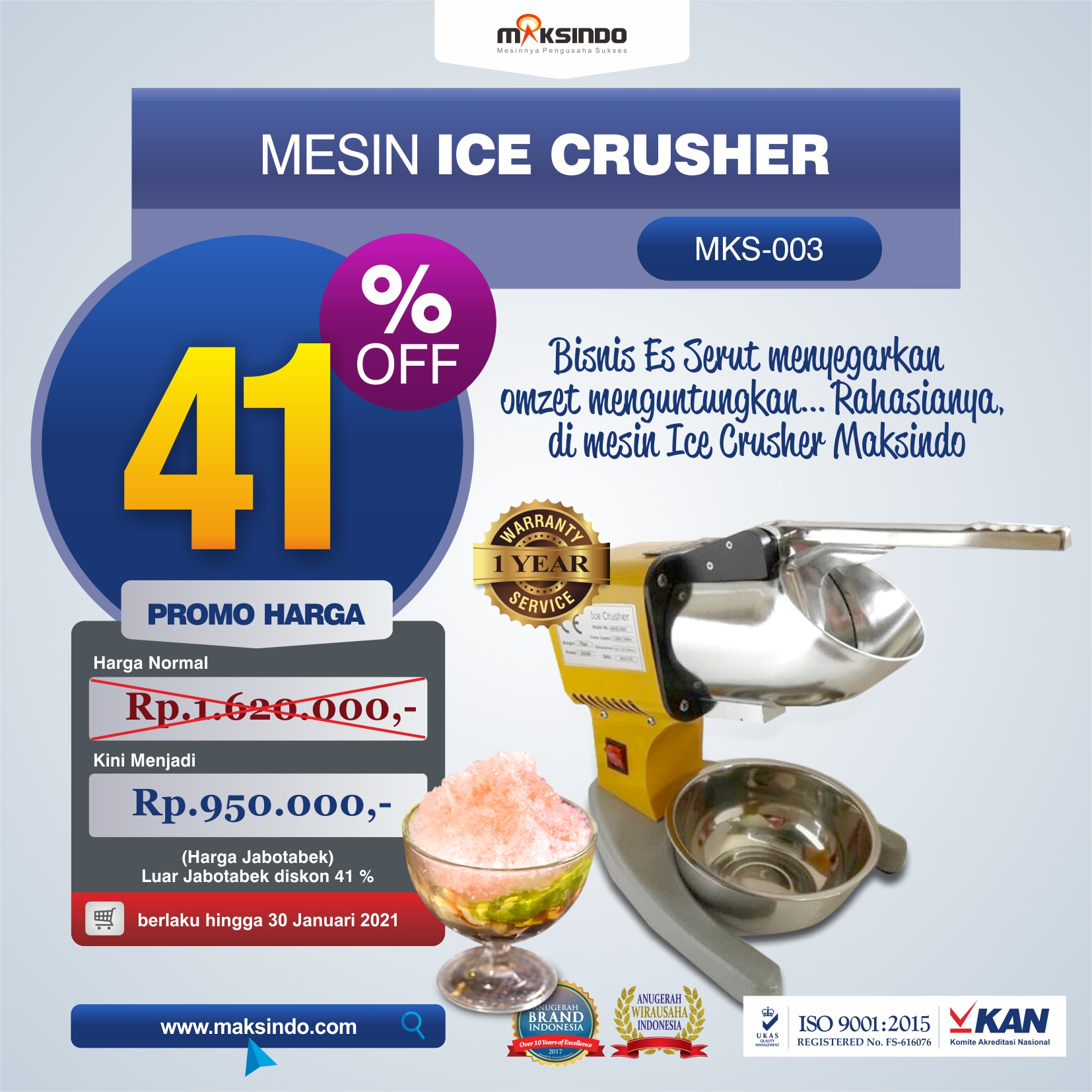 Jual Mesin Es Serut (Ice Crusher MKS-003) di Malang