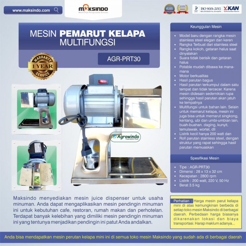 Jual Mesin Pemarut Kelapa Multifungsi AGR-PRT30 di Malang