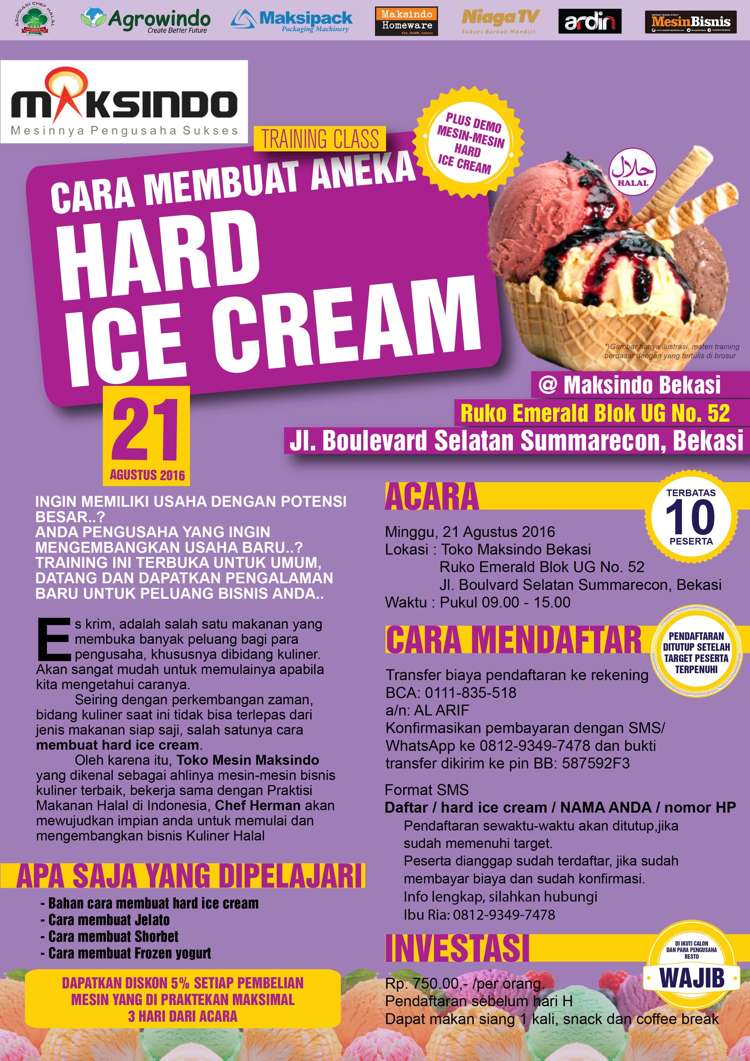 Training Usaha Hard Ice Cream di Bekasi 21 Agustus 2016
