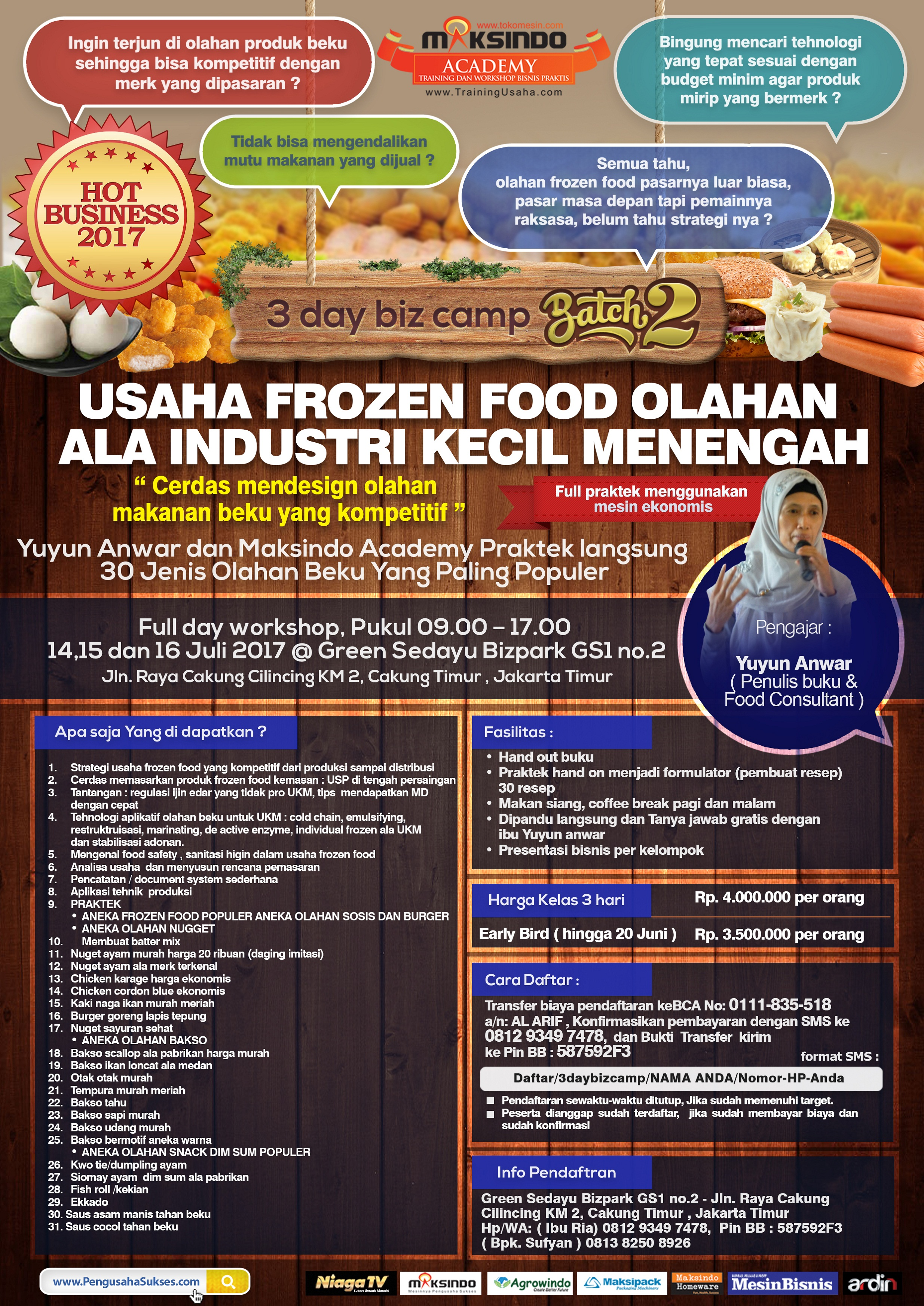 Training Usaha Frozen Food, 14-16 Juli 2017