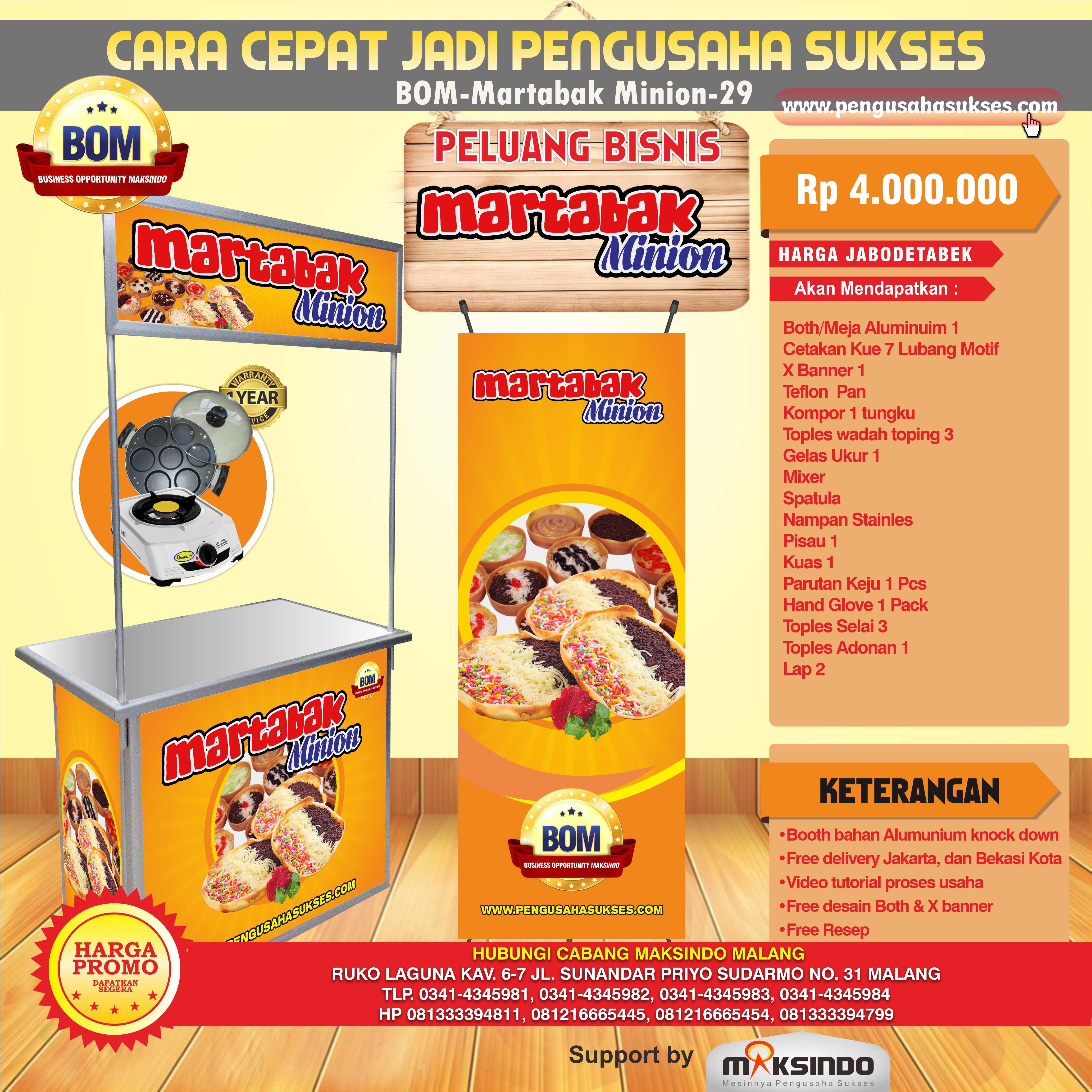 Paket Usaha Martabak Minion Program BOM