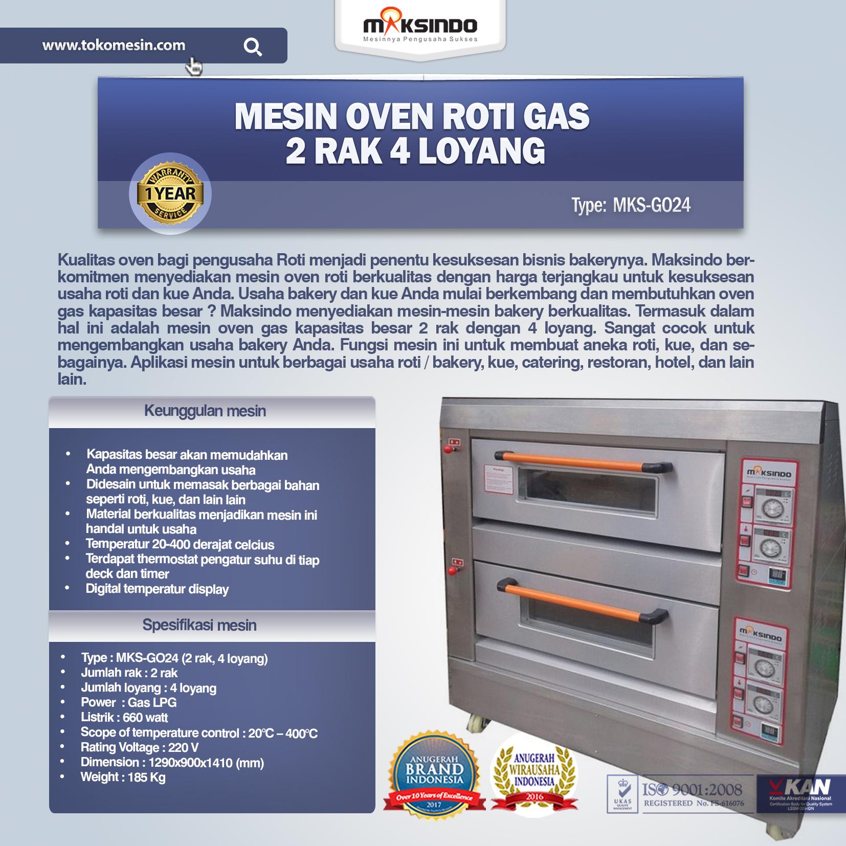 Jual Mesin Oven Roti Gas 2 Rak 4 Loyang GO24 Di Malang