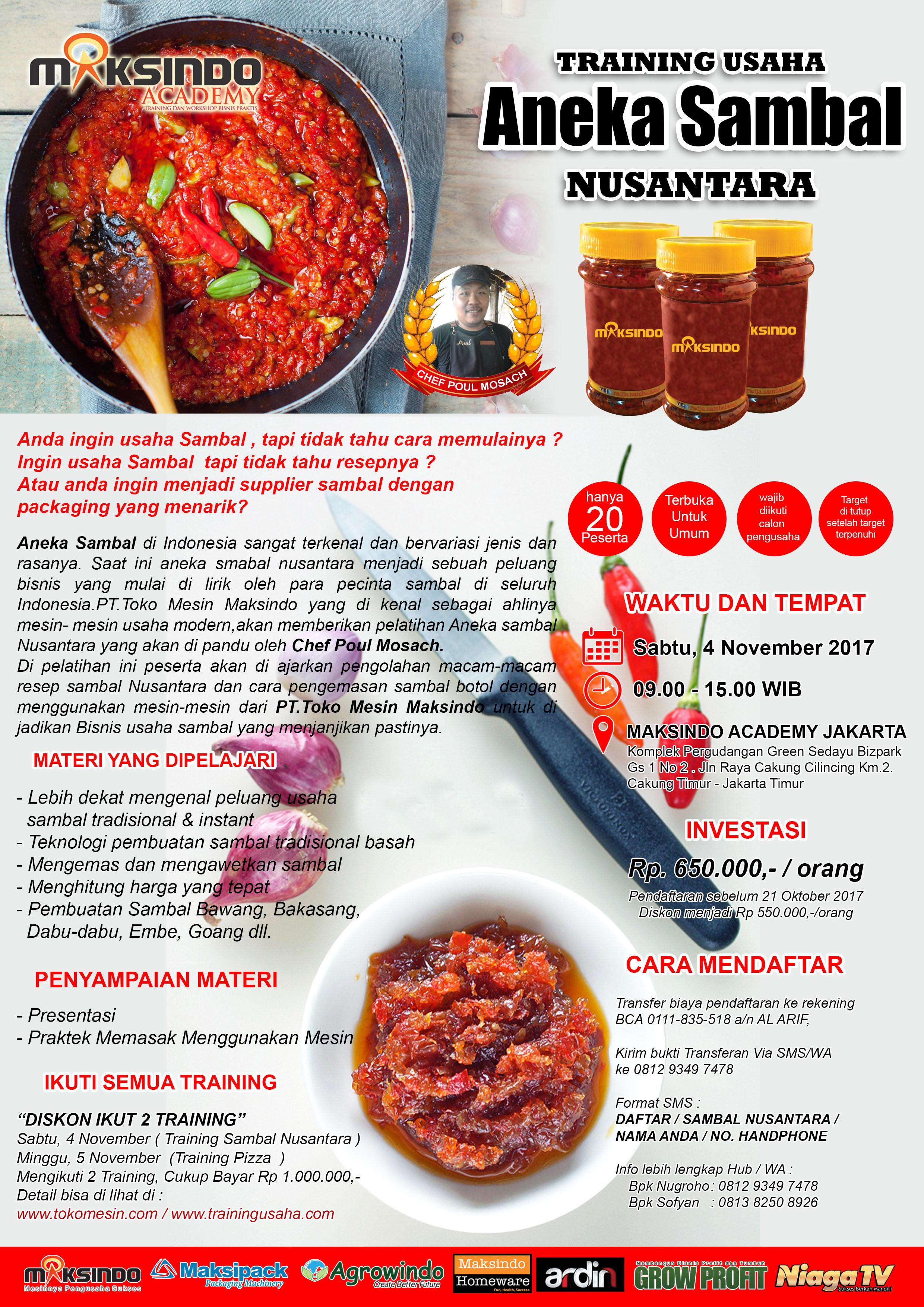 Training Usaha Aneka Sambal Nusantara, 4 November 2017