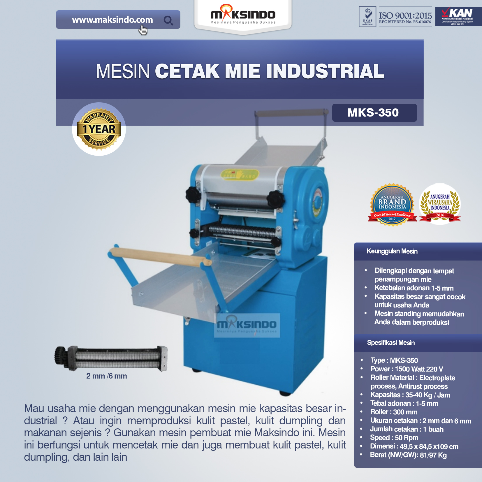 Jual Mesin Cetak Mie Industrial (MKS-350) di Malang