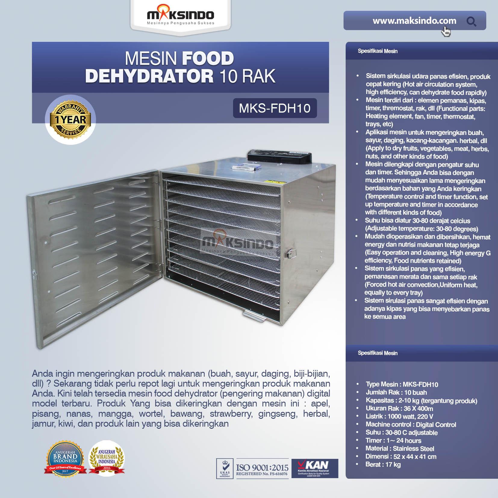 Jual Mesin Food Dehydrator 10 Rak (FDH10) di Malang
