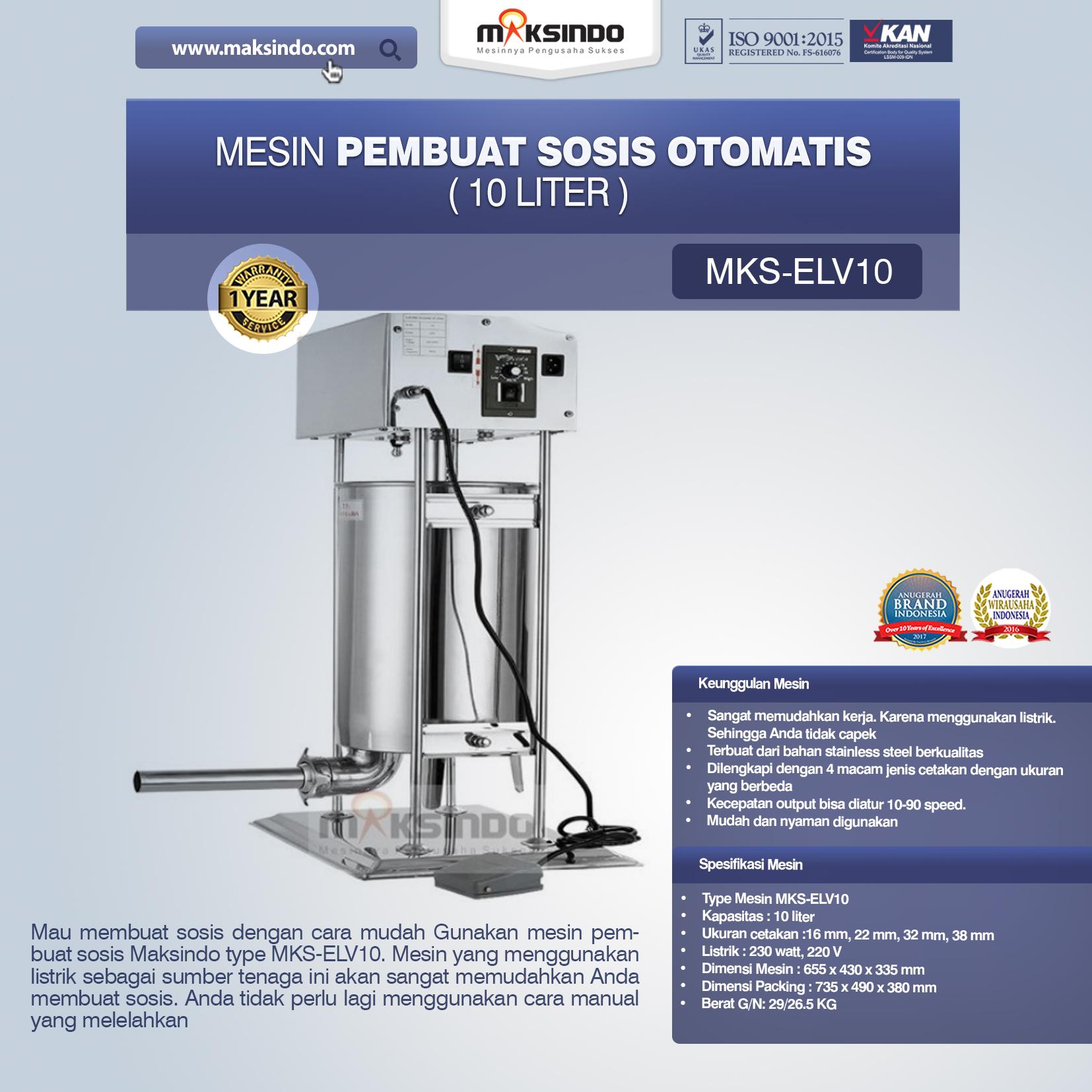 Jual Mesin Pembuat Sosis Otomatis (MKS-ELV10) di Malang