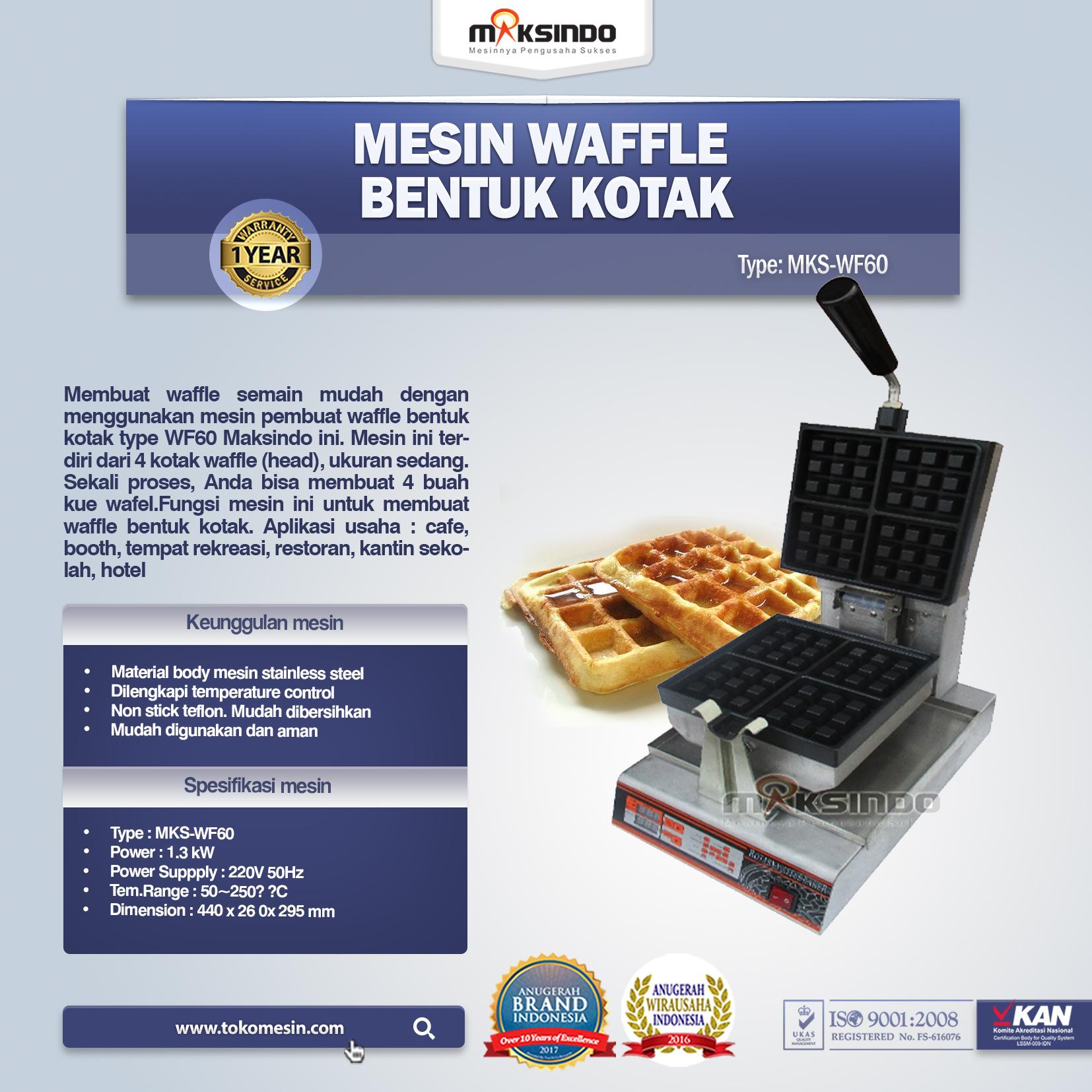 Jual Mesin Waffle Bentuk Kotak (WF-60) di Malang