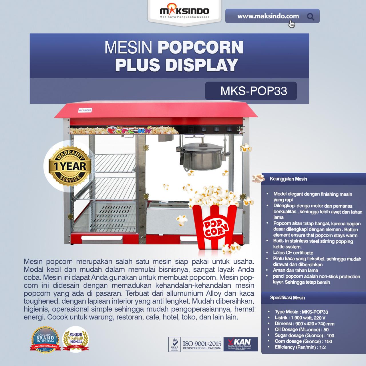 Jual Mesin Popcorn Plus Display (POP33) di Malang