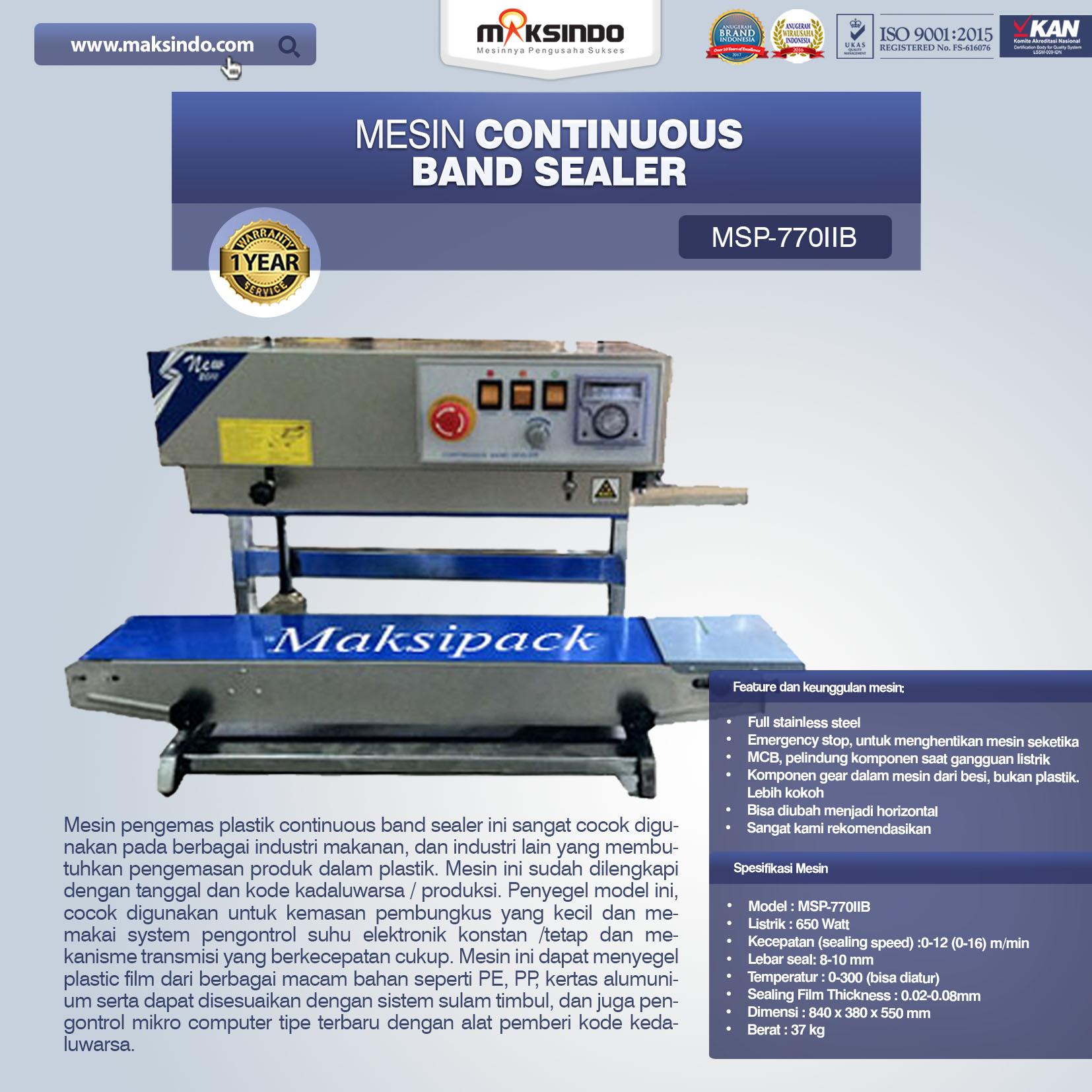 Jual Mesin Continuous Band Sealer MSP-770IIB di Malang